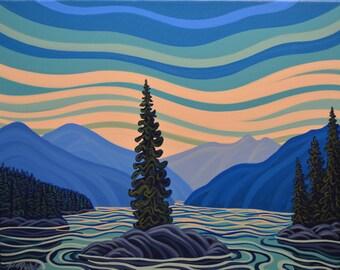 Kootenay Lake, 16X20, Original Painting, Canadian Artist, Ready to Hang, Gallery Canvas