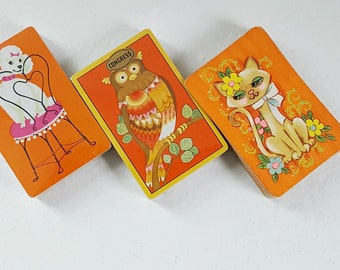 70s Kitsch Animal Playing Card Decks  /  Vintage Owl Cat Dog SWAP Card Decks  /  Retro Playing Cards / Deck of Cards SwirlingOrange11