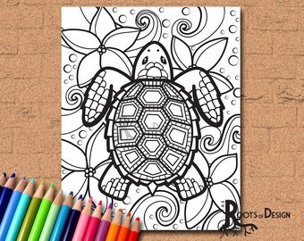 INSTANT DOWNLOAD Coloring Page - Turtle zentangle inspired, doodle art, printable
