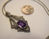 Avon Faux Amethyst Silver Tone Large Pendant  34 Inch Long Chain Costume Jewelry Vintage
