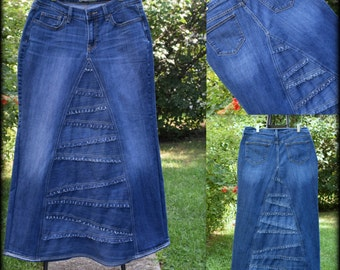DELAROSA Custom to Your Size Long Jean Skirt frayed Pieced look size 0-2-4-6-8-10-12-14-16-18-20-22-24-26