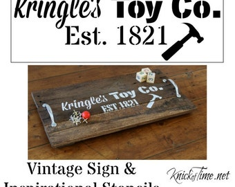 Christmas Sign Stencil - Kringle's Toy Co.