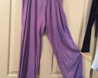 Tie-dye pants extra-large 100% cotton/soft/faux snaps/tied in a knot @hem can be untied/adjusted