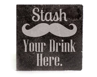 Coasters Set of 4 - black granite laser - 9950 Stash Your Drink Here