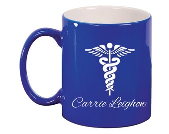 Personalized Engraved Ceramic Round Coffee and Tea Mug 11oz in various colors - 9018 Nurse Personalized