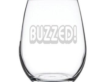 Stemless White Wine Glass-17 oz.-7824 Buzzed
