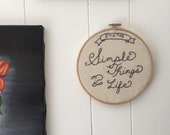 Hoop Art.  Wall Art. Its the simple things in life. Typography. Lettering. Quote. Gallery Wall. Charcoal gray. Script.