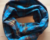 FLANNEL infinity scarf - blue plaid with brown, orange, yellow