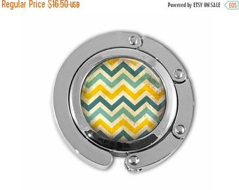 ON SALE Grungy Chevron Yellow and Aqua Geometric Pattern Purse Hook Purse Hanger Handbag Holder Umbrella Hanger