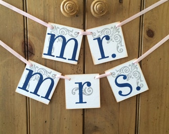 Mr. and Mrs. Wedding Signs / Wedding Banners / Navy and Blush / Custom Colors / Wedding Signage