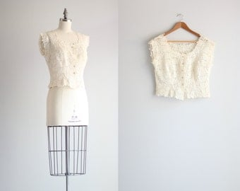Button Front Lace Blouse . Cream Lace Top . Vintage Womens Shirt