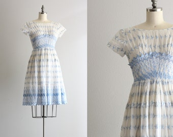 Sheer Eyelet Dress . Blue and White Lace Dress . 1950s 50s Dress