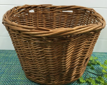Vintage Wicker Bicycle Basket D Shape Perfect for Groceries, Accessories, Towels, vintage bike accessories, bike basket, wicker basket