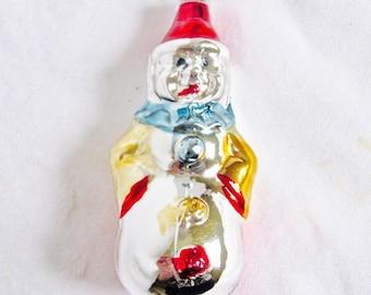 Vintage Christmas Glass Ornament Clown Decoration West Germany Mercury Glass