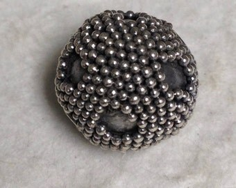 Large Oxidized - Sterling Silver Bali Bead - Round-Dotted - Carpet Granulation - 11.4mm MB174