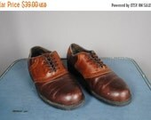 ON SALE 50% MEN'S Brown Leather Lightweight Oxfords with Brogue Detailing. Size 10.5 (Euro 44)