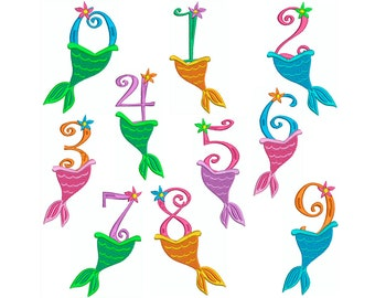 MERMAID NUMBERS - Machine Embroidery * 3 sizes - Instant Digital Download