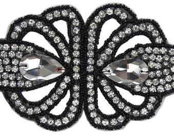 Crystal Appliqué on Net In Silver, AB, Gold or Black - PRETTY FARIE