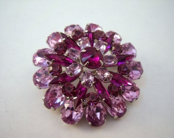 Vintage shades of lilac rhinestone pin