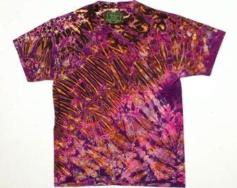 M Shibori Men's Tie Dye T Shirt Black Purple Tie Dye Medium