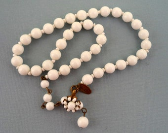 Miriam Haskell White Glass Bead Necklace Milk Glass Beads Signed