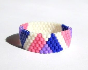 BiPride Geometry Seed Bead Ring, Peyote Beaded Ring, Gay Pride Thin Band, Nonbinary Pride, Bisexual Flag, Queer Lesbian Jewelry, LGBT  LGBTQ