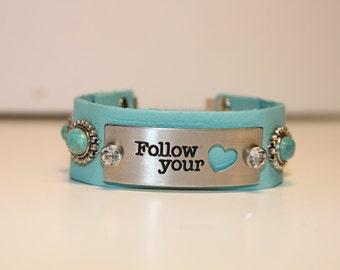 Follow You Heart message bracelet
