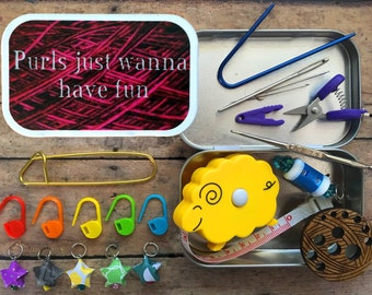 Purls Just Wanna Have Fun: The Knitter's Tool Tin with notions for your knitting bag