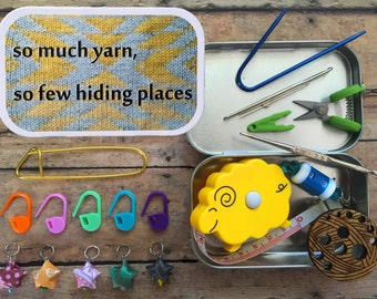 So Much Yarn, So Few Hiding Places Knitter's Tool Tin - altered altoid tin with knitting and sewing notions!