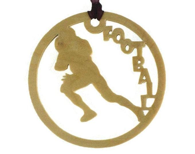 Football Player Christmas Ornament Handmade From Birch Wood