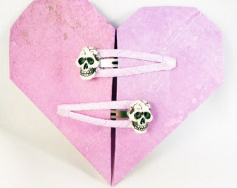 Realistic Skull Pink Ribbon Wrapped Hair Snap Clip Barrettes