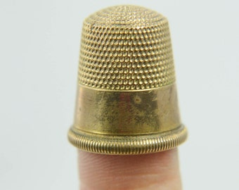 Antique Victorian 14k Gold Filled Double Anchor Goldsmith Stern Co Thimble 5.4g