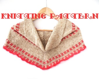 Knitting Pattern for triangular shawl , pdf downloadable file , full instructions and charts , simple shawl shape with slip stitch stripes