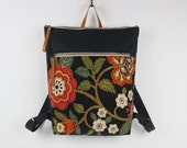 Dark navy blossom canvas Backpack, laptop backpack with zipper closure and front zipper pocket, Design by BagyBags