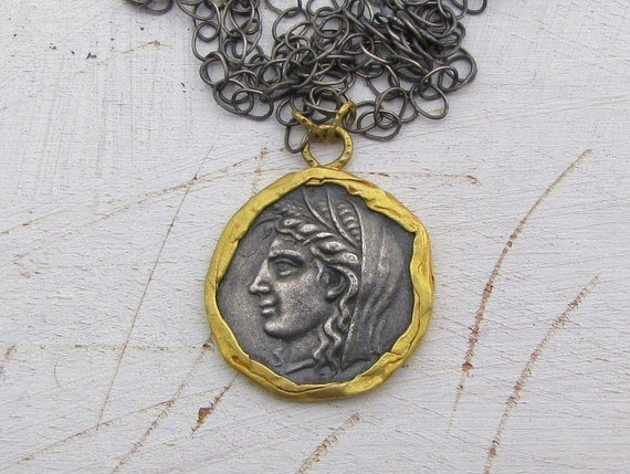 Coin Pendant Wrapped with 24k Gold on an Oxidized  Sterling Silver Chain - Pendant Necklace