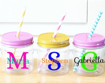 Personalized Plastic Mason Jars Personalized Kids Mason Jar cups Kids Cups Favors Wedding Birthday Baby Shower 10 8oz Kids Party Cup Plastic