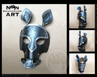 Dark Armor Leather Horse Mask - Handmade Warrior Costume Fantasy Renaissance Festival Masquerade
