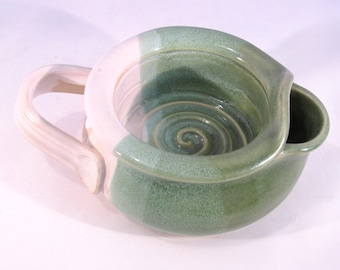 Shaving Scuttle -Shave Mug - Lather Bowl - Comfort Hot Shave - Handmade Pottery - Pottersong Pottery - Bright Green - Textured Ivory