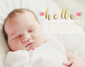 5x7 Horizontal Flat Card PSD Template  Goild Foil and Floral Baby Announcement INSTANT DOWNLOAD