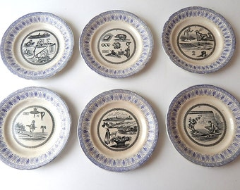 6 French Antique Rebus Plates Set of 6 Dessert Plates Late 1800s