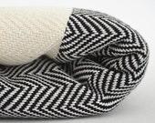 FREE SHIPPING / Herringbone Blanket / Black / Bedcover, Beach blanket, Sofa throw, Traditional, Tablecloth