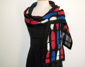Red, white, and blue strips of color, nuno felt scarf