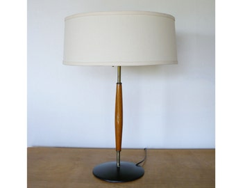 Mid-Century Modern Gerald Thurston Lightolier Teak Table Lamp