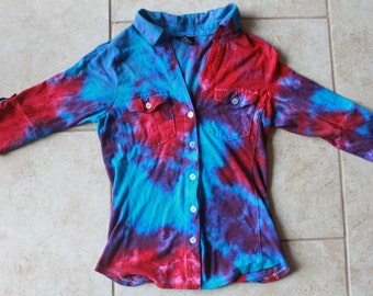 Tie Dye button up Rue 21 3/4 sleeve shirt size M upcycled