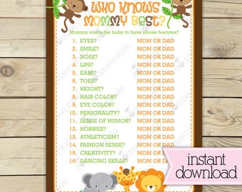 Jungle Baby Shower Who Knows Mommy Best Game Printable - Safari Baby Shower Games - Instant Download - Guess Baby Features Game