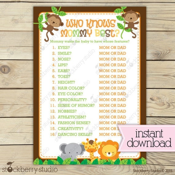 jungle baby shower who knows mommy best game printable safari baby