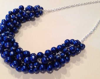 Royal Blue Pearl Silver Statement Necklace