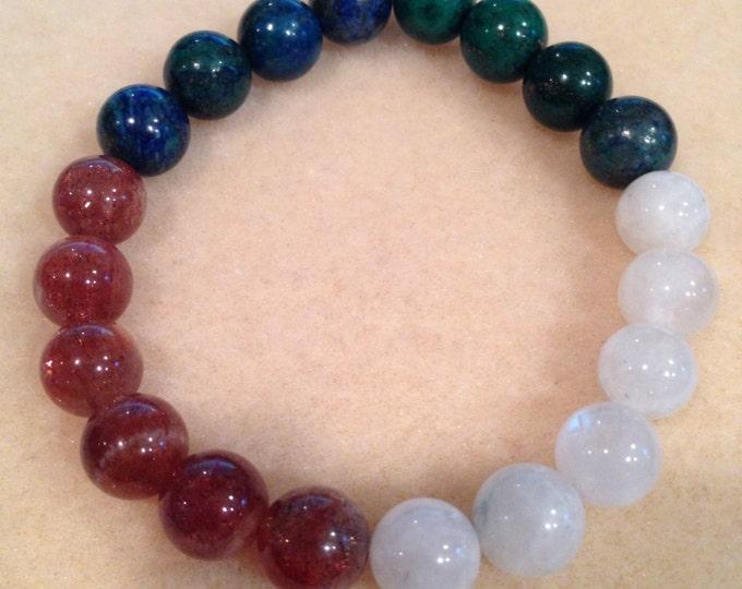 GAIA Earth Sun Moon Bracelet with Rainbow Moonstone, Confetti Sunstone & Azurite Malachite 10mm Round Bead Stretch Bracelet