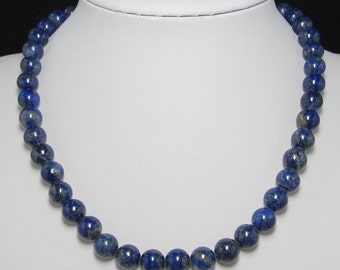 Natural Lapis Lazuli 10mm and 925 Silver 19 inch Necklace