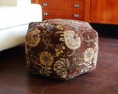 Brown Floral pouf / Floor pillow / floor pouf / foot pouf  / Moroccan pouf /  Floor cushion / foot stool / unique home decor / chenille pouf